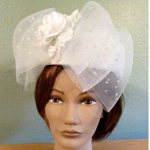 Straw Beret Lace Dressy White Formal Church Hat